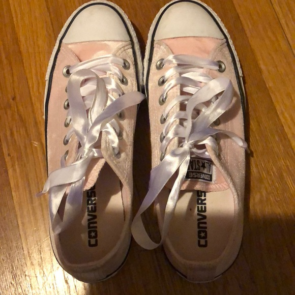 197950d22e21 Converse Shoes - Converse pink velvet with ribbon lace